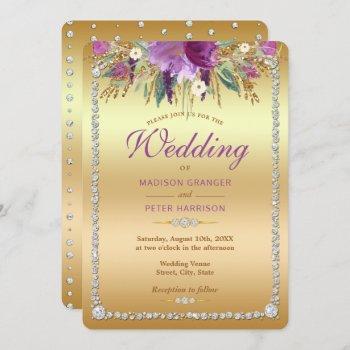 diamond glitter watercolor flowers wedding invitation