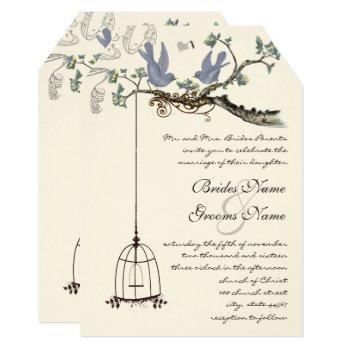 die cut birds yellow & purple blooms wedding invitation