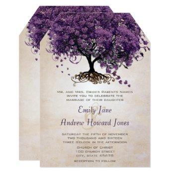 die cut peach purple heartleaf tree wedding invite