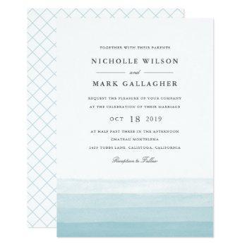 dip dye watercolor wedding invitation | aqua