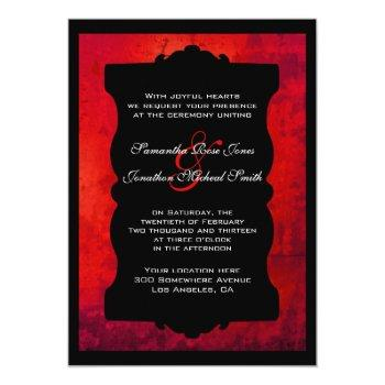 distressed red black gothic wedding invitation