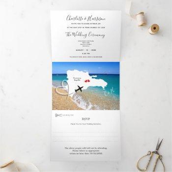 dominican republic destination wedding tri-fold invitation
