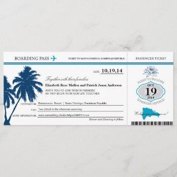 dominican republic wedding boarding pass invitation