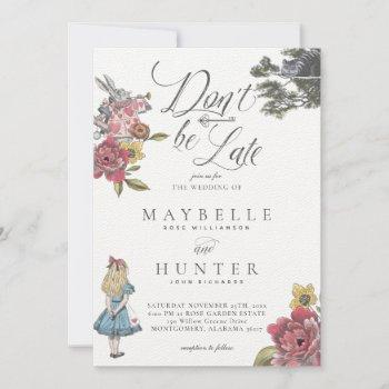don't be late vintage alice in wonderland wedding invitation