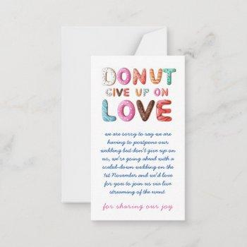 donut give up on love change of date plans cards