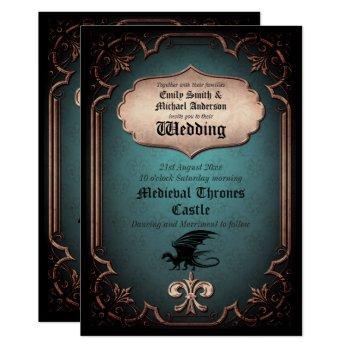 dragon wedding medieval gothic vintage thrones invitation