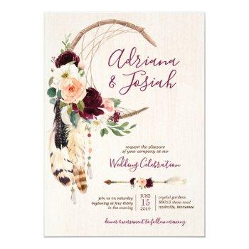 dream catcher moon peach & burgundy boho wedding invitation