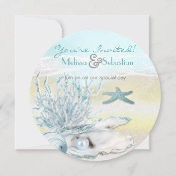 dream shore beach blue wedding invite