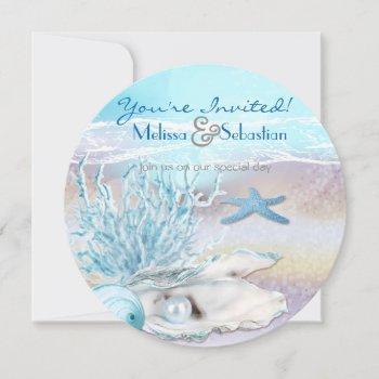 dream shore beach dk teal wedding invite