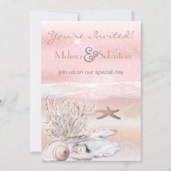 dream shore beach peach wedding invite
