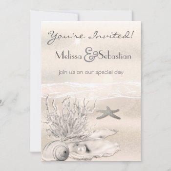 dream shore beach sepia wedding invite
