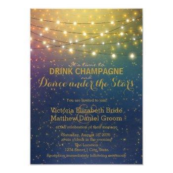 drink champagne dance under the stars wedding invitation