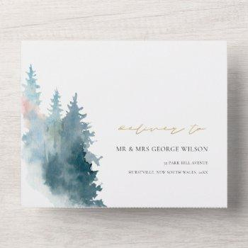 dusky blue pink mountains pine watercolor wedding all in one invitation