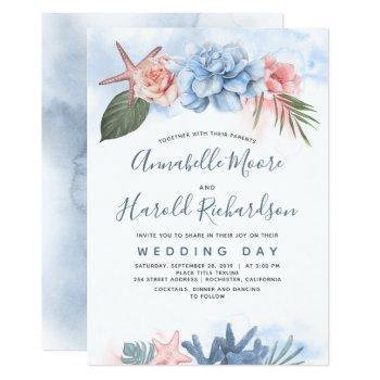 dusty blue and blush tropical beach wedding invitation