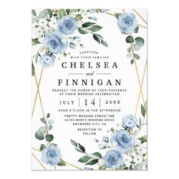 dusty blue and gold elegant floral rustic wedding invitation