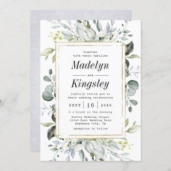 dusty blue and gold elegant rustic floral wedding invitation