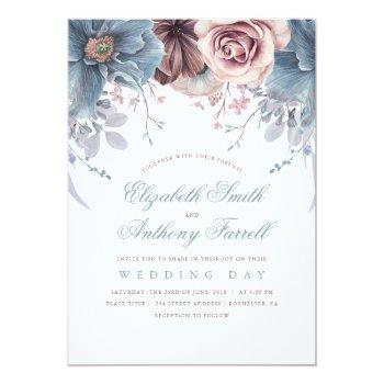 Small Dusty Blue And Mauve Watercolor Floral Wedding Invitation Front View