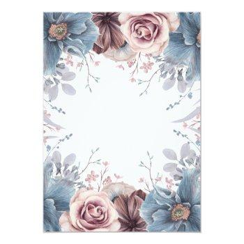 Small Dusty Blue And Mauve Watercolor Floral Wedding Invitation Back View