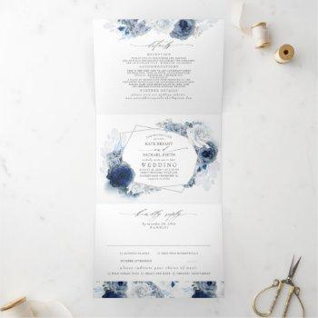 dusty blue and navy floral botanical wedding tri-f tri-fold invitation