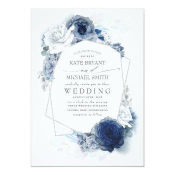 Small Dusty Blue And Navy Floral Elegant Silver Wedding Invitation Front View