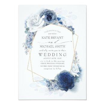 Small Dusty Blue And Navy Floral Elegant Wedding Invitation Front View