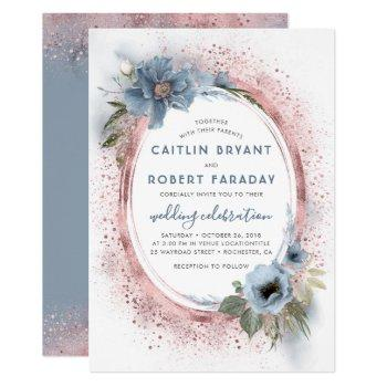 dusty blue and rose gold glitter floral wedding invitation