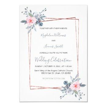 dusty blue and rose pink wedding invitation