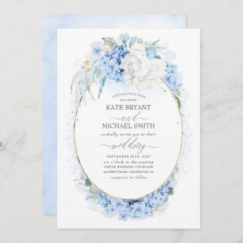 dusty blue and white flowers elegant wedding invitation