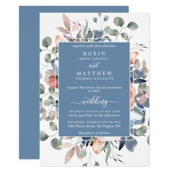 dusty blue blissful floral and greenery wedding invitation