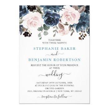 dusty blue blush pink floral botanical wedding invitation