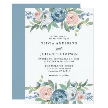 dusty blue & blush rose floral watercolor wedding invitation