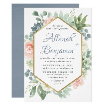 dusty blue blush succulent floral garden wedding invitation