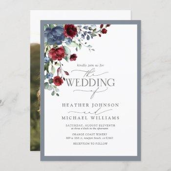 dusty blue burgundy red floral watercolor photo invitation
