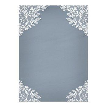 Small Dusty Blue Country White Lace Mason Jar Wedding Invitation Back View