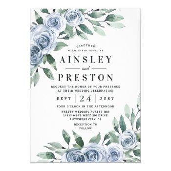 dusty blue elegant floral boho rose rustic wedding invitation