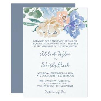 dusty blue florals formal wedding invitation