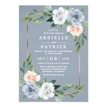 Small Dusty Blue Gold Blush Pink Peach Floral Wedding Invitation Front View