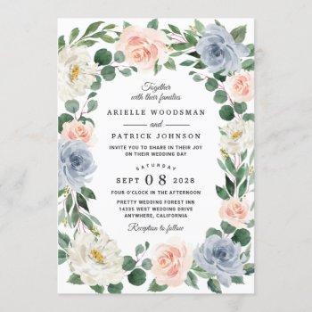dusty blue gray blush pink peach floral wedding invitation