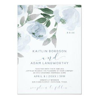 dusty blue gray watercolor floral wedding invitation