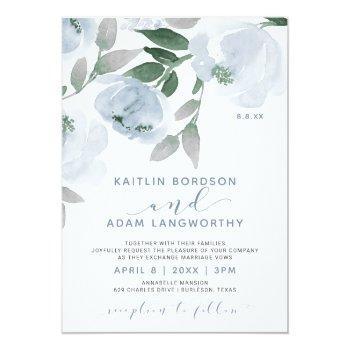 dusty blue gray watercolor floral wedding invitation