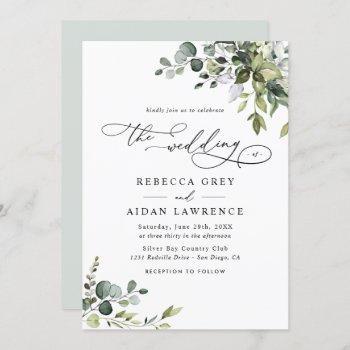 dusty blue green eucalyptus greenery wedding invitation