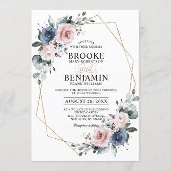 dusty blue mauve eucalyptus geometric wedding invitation