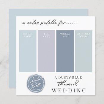 dusty blue mint & light purple color palette card