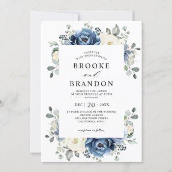 dusty blue navy champagne ivory floral wedding inv invitation