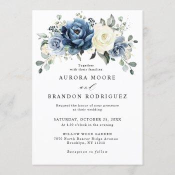 dusty blue navy champagne ivory floral wedding invitation