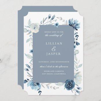 dusty blue navy floral frame wedding invitation