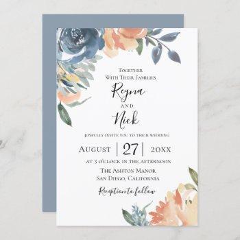 dusty blue peach botanical wedding invitation