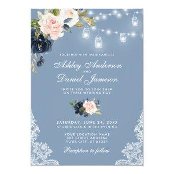 dusty blue pink floral lace lights wedding invitation