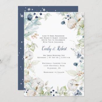 dusty blue sage green floral snowflakes wedding invitation