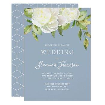 dusty blue spring floral peony wedding invitation